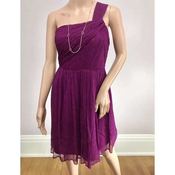 5985862112a81 J. Crew Dresses | J Crew Magenta Silk Chiffon One Shoulder Dress ...